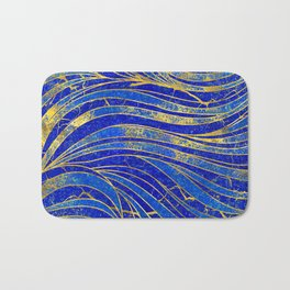 Lapis Lazuli and gold vaves pattern Bath Mat