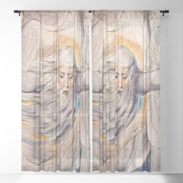 God Answers Job - by William Blake Sheer Curtain