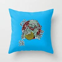 foo fighters Throw Pillows featuring Foo Dog by Buby87