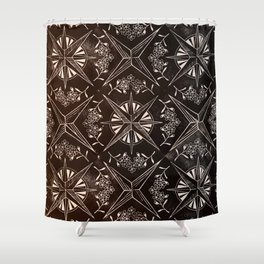 Forget me not compass (black) Shower Curtain