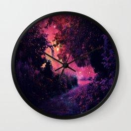 fantasy path Deep Magenta Burgundy Wall Clock