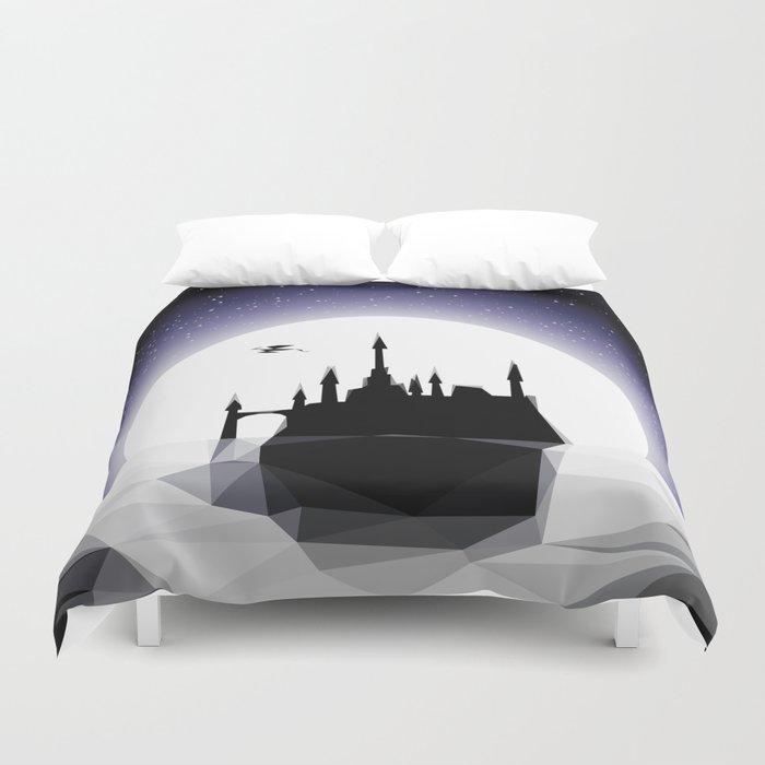 Moonlight Stanza - Night Sea, Castle & the Moon Duvet Cover