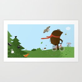 The Bear goes to the City Art Print