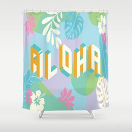 Pastel Aloha Typography Shower Curtain