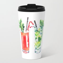 Four Cocktails - Watercolour Drinks - Party Print Travel Mug