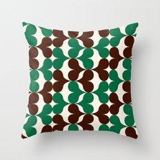 Retro heart pattern green & brown. Throw Pillow