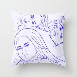 Sisters || #sketch #minimal #drawing Throw Pillow