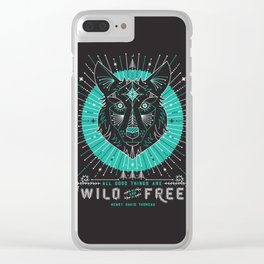 Wild & Free Wolf – Turquoise & Grey Clear iPhone Case
