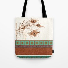 Peacock Feathers and Graphic Stripes and Tile Tote Bag