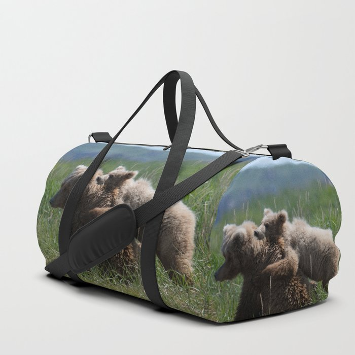Alaska Grizzly Mother And A Cub In Katmai National Park #Society6 Duffle Bag