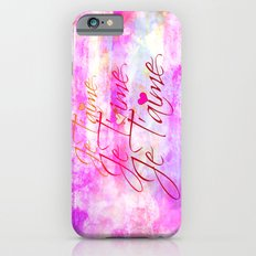 JE T'AIME French Typography Font I Love You Romantic Fine Art Pastel Pink Colorful Abstract Painting iPhone 6s Slim Case