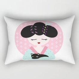 Geisha with black cat Rectangular Pillow