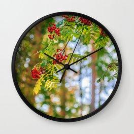 Bunches of rowan berries Wall Clock