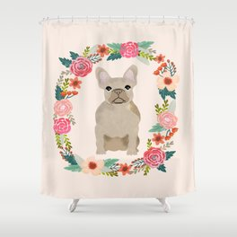 french bulldog fawn floral wreath flowers dog breed gifts corgis Shower Curtain