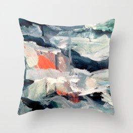Eye of the Storm [2] - abstract mixed media piece in blues, white, and red Throw Pillow
