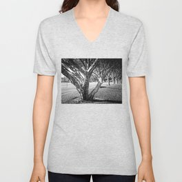 Row of trees in black and white Unisex V-Neck