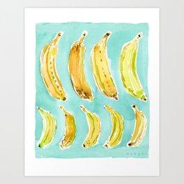 BANANA MARCH Aqua + Yellow Watercolor Art Print