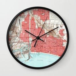Vintage Map of Long Beach California (1949) 3 Wall Clock