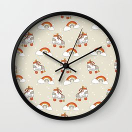 Rollerskates nostalgia pattern print cute 80s rainbows retro style by andrea lauren Wall Clock