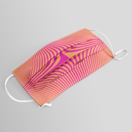 Pink Orange Neon Abstract Waves Face Mask