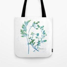 Botanical 1 Blue and Green Tote Bag