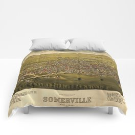 Aerial View of Somerville, New Jersey (1882) Comforters