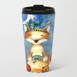 Autumn Woodland Friends Fox Forest Illustration Metal Travel Mug