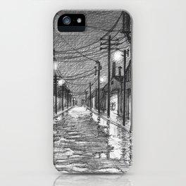 Raining on industrial street iPhone Case