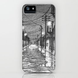 Raining on industrial street iPhone Case