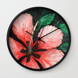 Salmon Red Hibiscus Summer Wall Clock