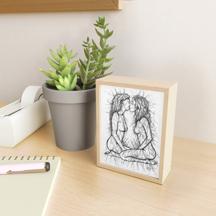 Sexual Energy b&w - Erotic Art Illustration Nude Sex Sexual Love Lovers Relationship Couple Lesbian Framed Mini Art Print
