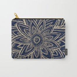 Cute Retro Gold abstract Flower Drawing  geometric Carry-All Pouch
