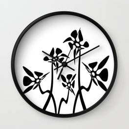 Five Abstract flowers black and white Wall Clock