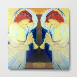 "Edward Burne-Jones ""An Angel Playing a Flageolet"" (3) Metal Print"