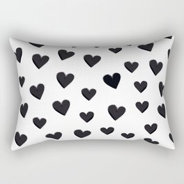 Hearts Love Black and White Pattern Rectangular Pillow