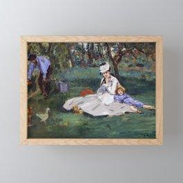 Edouard Manet - The Monet family in their garden at Argenteuil Framed Mini Art Print