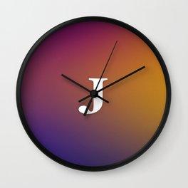 Monogram Letter J Initial Orange & Yellow Vaporwave Wall Clock