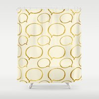 gold foil Shower Curtains featuring Cream Gold Foil 01 by Aloke Design