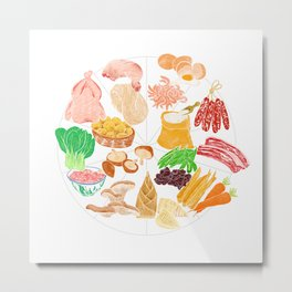 Illustration of a collection of Chinese ingredients Metal Print