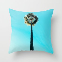 Modern tropical palm tree blue turquoise sky photography Throw Pillow