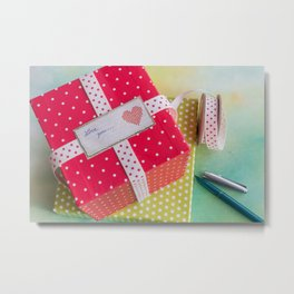 Two dotted gift boxes with dotted gift band and label with text Metal Print