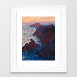 Claude Monet Impressionist Landscape Oil Painting Sunset At Sea Cliffs Ocean Cliff Landscape Framed Art Print