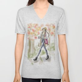 Fall Fashion Coffee Girl Unisex V-Neck