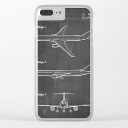 Boeing 777 Airliner Patent - 777 Airplane Art - Black Chalkboard Clear iPhone Case
