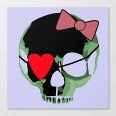 Green skull with heart and bow Canvas Print