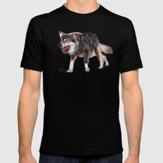 wolf 3 	 Mens Fitted Tee Black MEDIUM