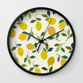 Lemons Mediterranean fruit art illustration Wall Clock