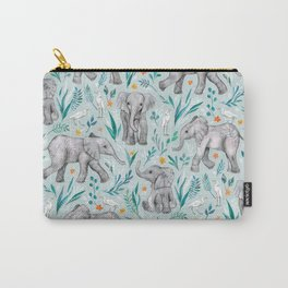Baby Elephants and Egrets in Watercolor - egg shell blue Carry-All Pouch