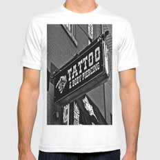 Tattoos Here Mens Fitted Tee White MEDIUM