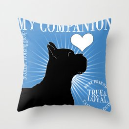 BOXER – My Companion - Blue Throw Pillow